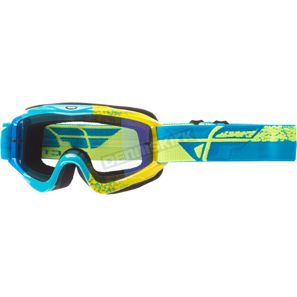 Fly Racing Blue/Hi-Vis Zone Composite Goggles w/Blue Mirror/Smoke Lens - 37-4034