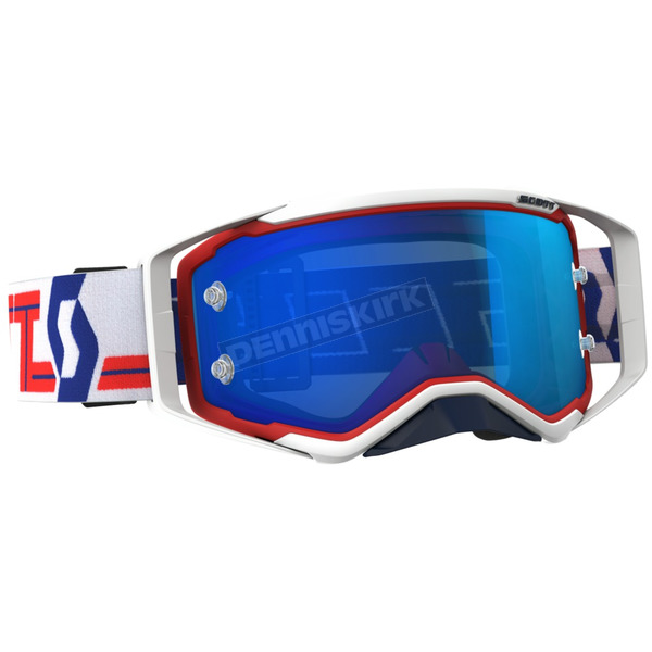 Scott Red/White/Blue Prospect Goggles W/Electric Blue Chrome Works Lens - 262589-1005278
