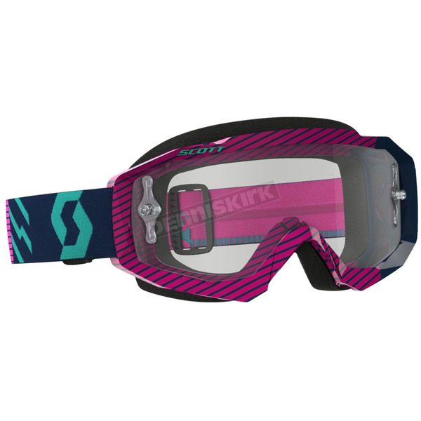 Scott Blue/Pink Hustle MX Goggles w/Clear Lens - 262592-2839113
