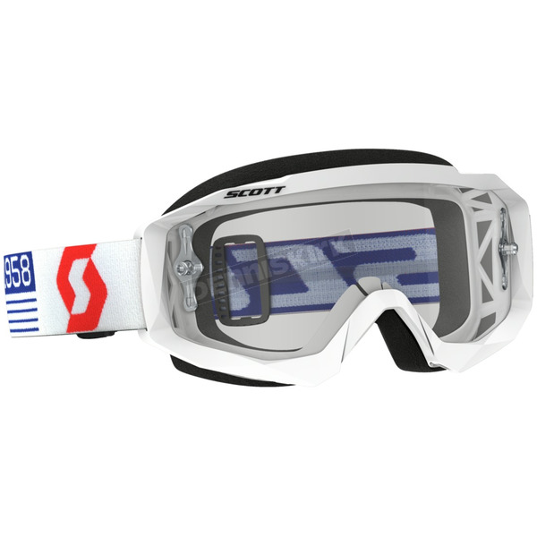 Scott White/Red Hustle MX Goggles w/Clear Lens - 262592-1030113