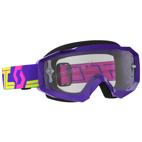 Scott Purple/Yellow Hustle MX Goggles w/Clear Lens - 262592-4984113