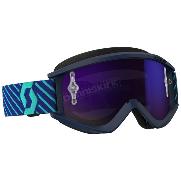 Scott Blue Recoil XI Goggles w/Purple Chrome Lens - 262596-5572281