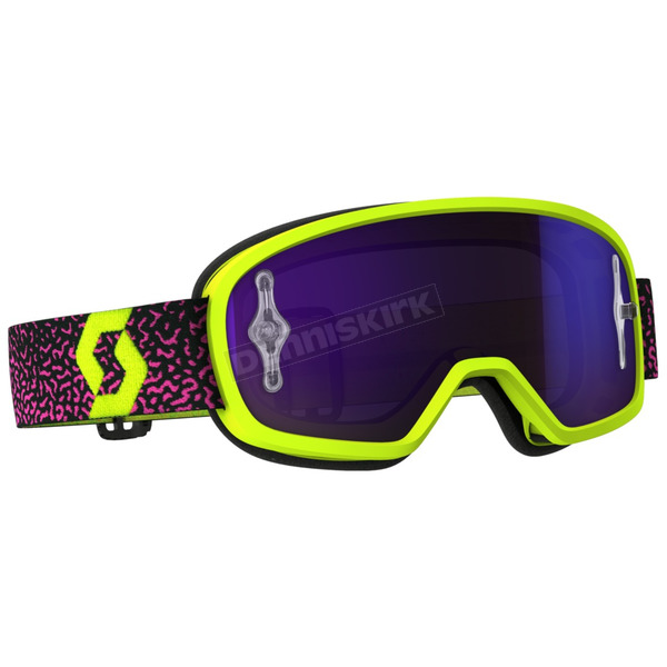 Scott Youth Yellow/Pink Buzz Pro Goggles w/Purple Chrome Lens - 262602-4758281