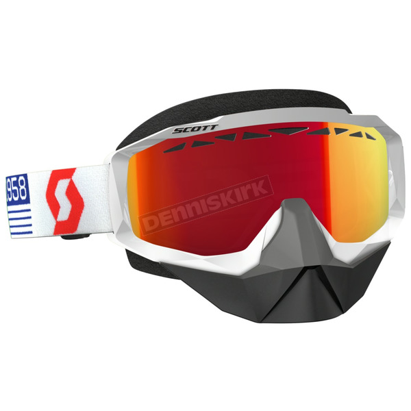 Scott White/Red Hustle Snowcross Goggles w/Amp Red Chrome Lens - 262582-1030312