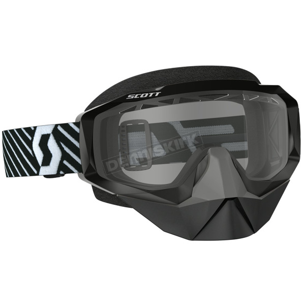 Scott Black/White Hustle Snowcross Goggles w/Clear Lens - 262582-1007043