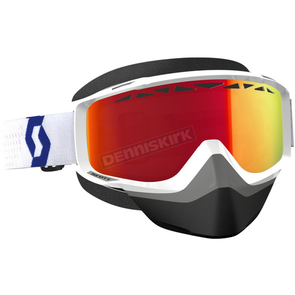 Scott White/Red Split OTG Snowcross Goggles w/Amp Red Chrome Lens - 262586-1030312