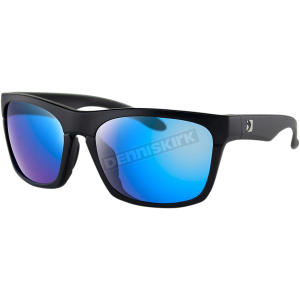 Matte Black Route Sunglasses w/Purple HD Light Blue Revo Mirror Lens - BROU001H