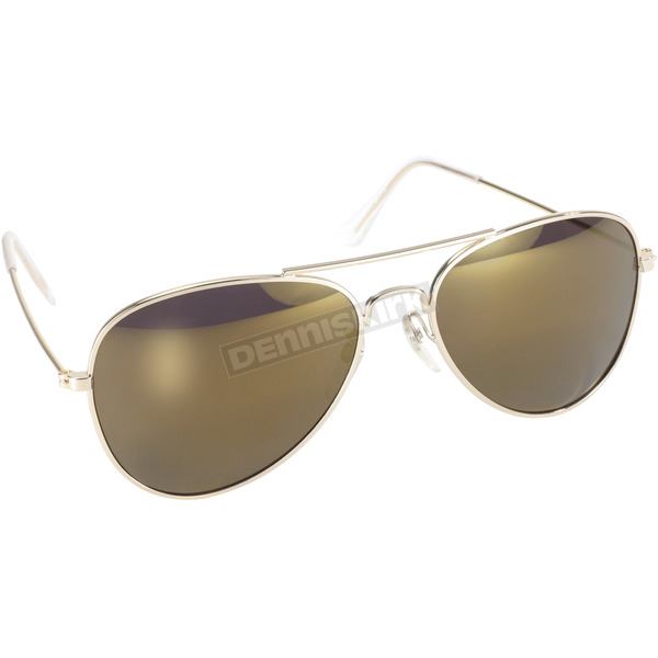 Gold Aviator Sunglasses w/Gold Mirror Lens - 80014