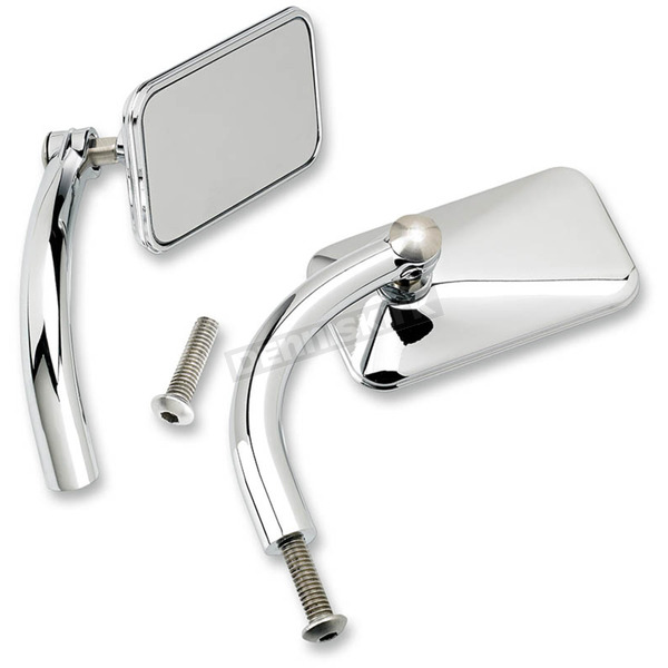 Biltwell Chrome Rectangular Perch Mounted Utility Mirror - UP-REC-HD-CP