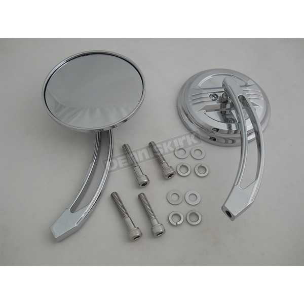 V-Twin Manufacturing Air Flow Mirror Set w/Curved Billet Stems - 34-0017