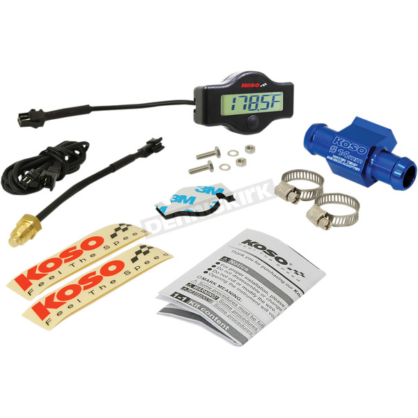 Koso North America EX-01 Water Temp Meter w/14mm Adapter and Clamps  - BA049400-14
