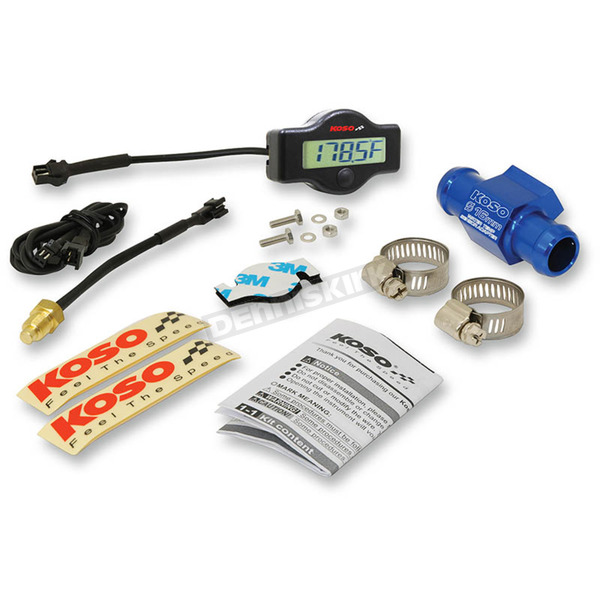 Koso North America EX-01 Water Temp Meter w/16mm Adapter and Clamps - BA049400-16