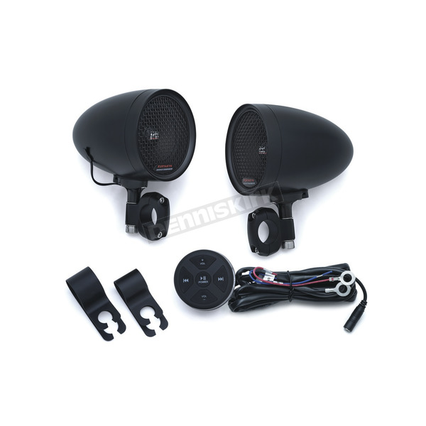 Kuryakyn Satin Black Road Thunder Speaker Pods w/Bluetooth Audio Controller by MTX - 2713