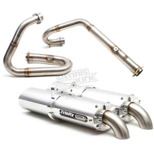 Trinity Racing Brushed Stainless Dual Exhaust System - TR-4101D