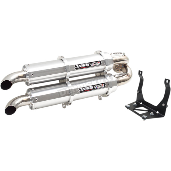 Trinity Racing Brushed Stage 5 Dual Slip-On Mufflers - TR-4160S