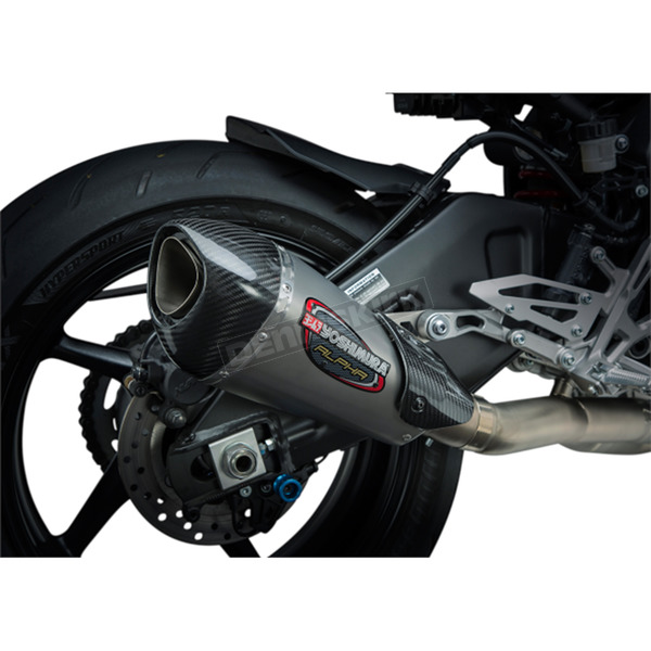 Yoshimura Alpha T Race Series 3/4 in. Works Finish Exhaust System (Stainless/Stainless/Carbon Fiber) - 13100CP520