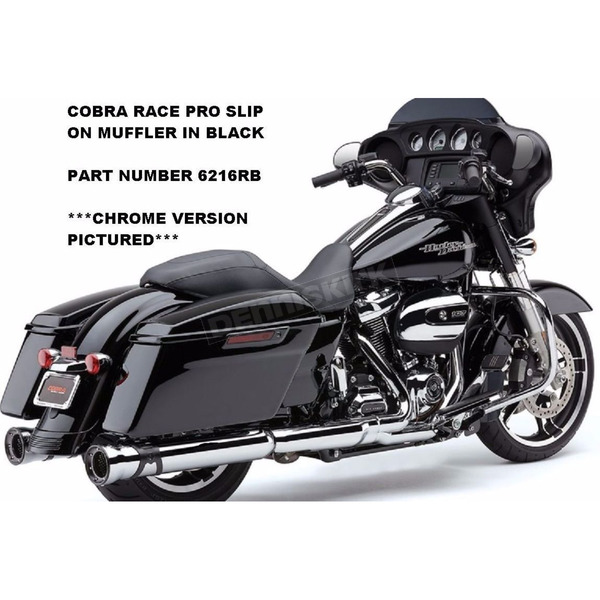 Cobra Black Race-Pro 4 1/2 in. Slip-On Mufflers - 6216RB