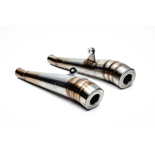 British Customs Brushed Stainless Steel GP Exhaust Mufflers - BC902-091-BR