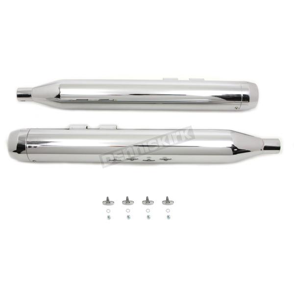 V-Twin Manufacturing Chrome Muffler Set w/Short Tapered End Tips - 30-4052