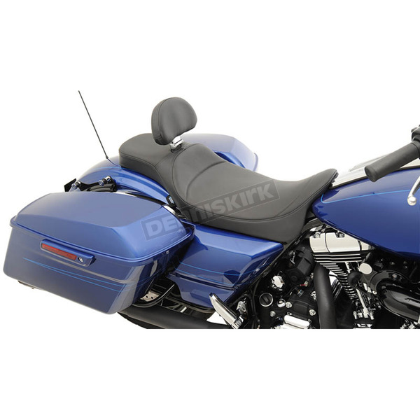 Drag Specialties Extended Reach Mild Stitch 2-Up Predator Seat w/Driver's Backrest - 0801-1005