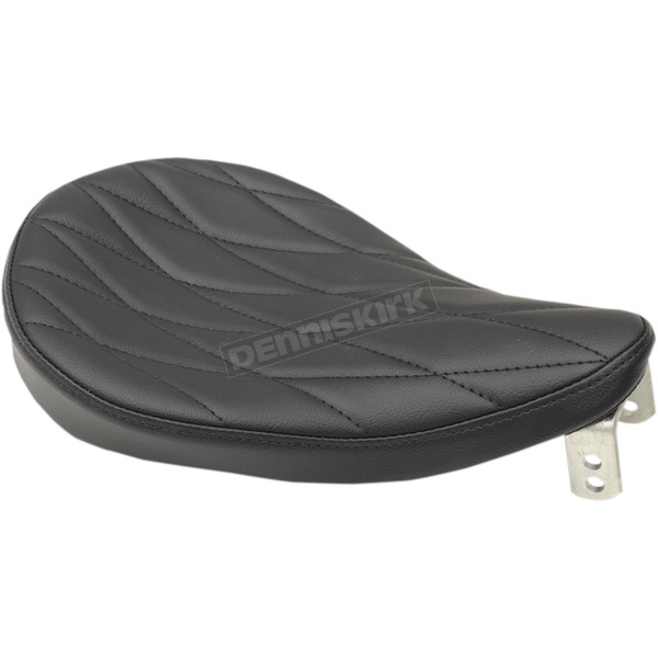 Drag Specialties Small Vinyl Spring Solo Seat w/Long Diamond Stitching - 0806-0110