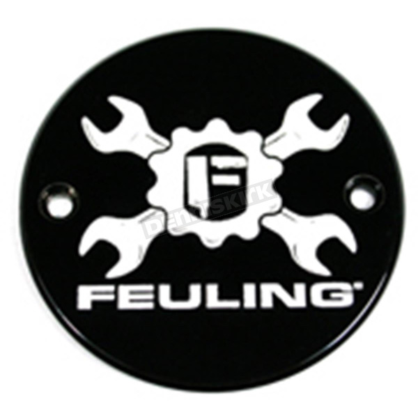 Feuling Motor Company Black Contrast Cut Gear Cross Logo Points Cover - 9133
