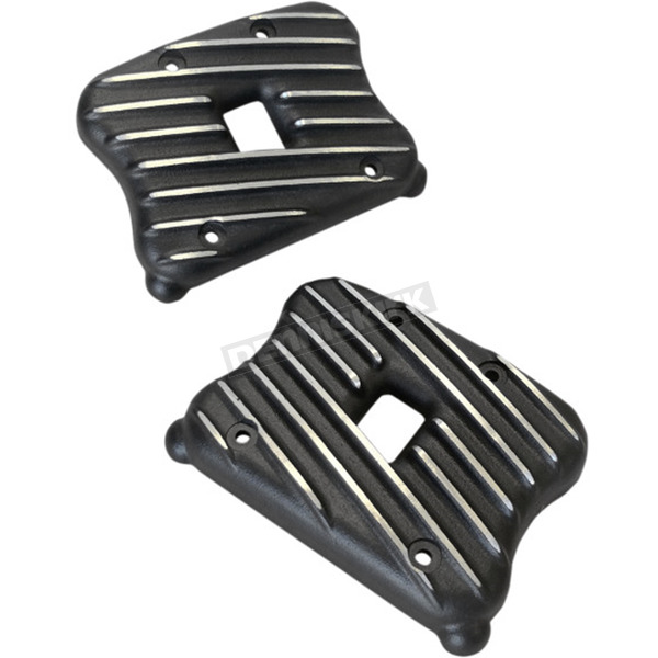 Speed Merchant Black Cut Ribsters Rocker Box Covers - RCXLI/R/BC