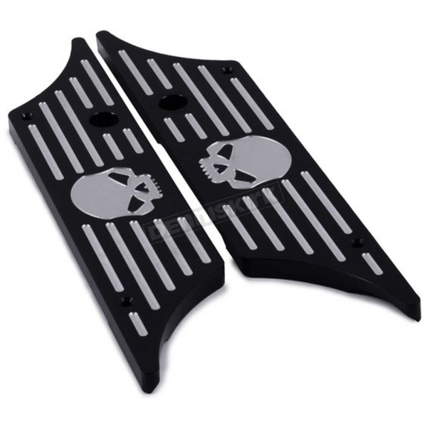HogWorkz Black Skull Saddlebag Latch Covers - HW129131