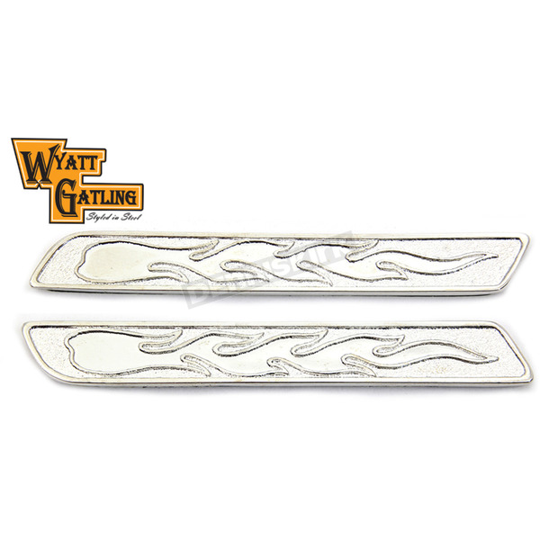 Wyatt Gatling Chrome Flame Saddlebag Face Plate Inserts - 48-1197