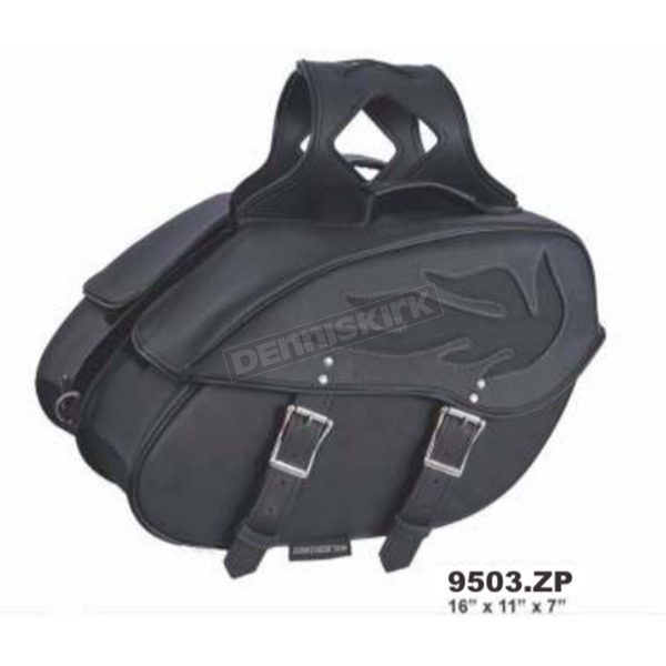 Black PVC Flame Quick Release Throw Over Saddlebags - 9503.PL