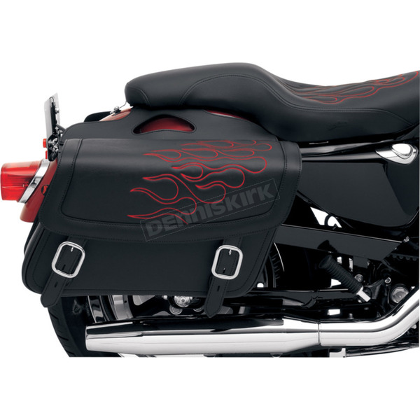 Saddlemen Large Highwayman Tattoo Saddlebags w/Red Flames  - X021-05-0412