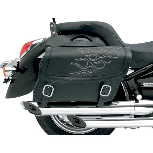 Saddlemen Large Highwayman Tattoo Saddlebags w/Silver Flames - X021-05-0413
