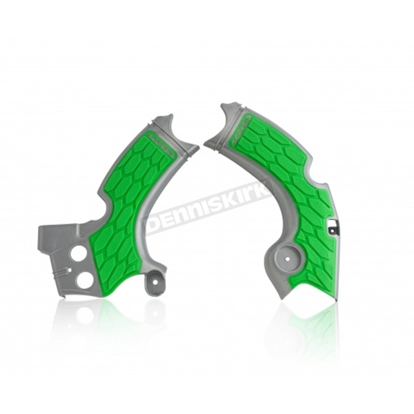 Acerbis Silver/Green X-Grip Frame Guards - 2657591417