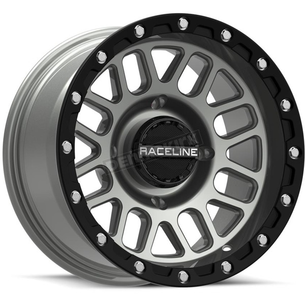 Black/Gray Raceline A93 Podium Beadlock 15x6 Wheel - A93SG-56056+40