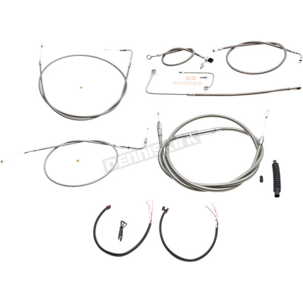 Braided Stainless Cable/Brake Line Kit w/ABS For Use w/OEM Handlebars - LA-8151KT2A-00