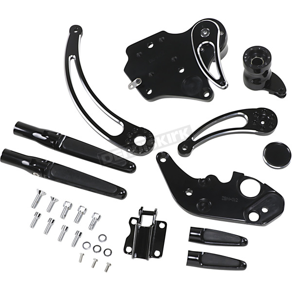 Black Anodized Extended Length  w/Shadow-Cut Slotted Levers Forward Control Kit - FCK-F14AE-FR-SE