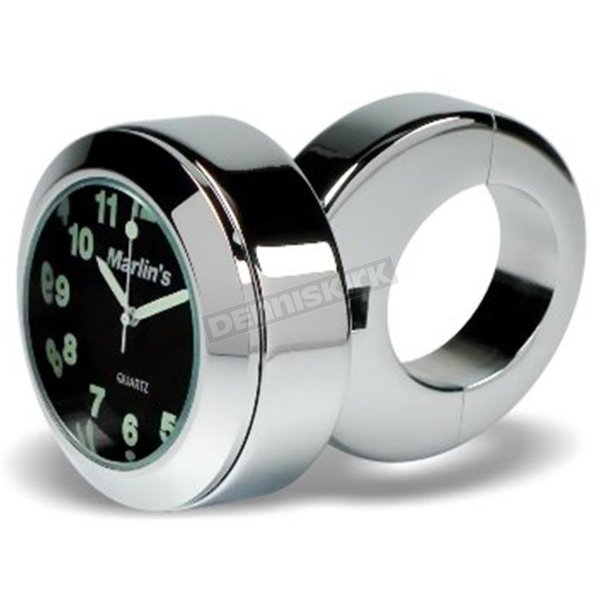 Black Face 7/8 in.-1 in. Classic Adjustable Ring Style Handlebar Mount Clock - 150102