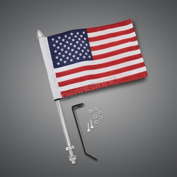 Show Chrome Flag Pole w 6 in. x 9 in. Flag - 30-113A