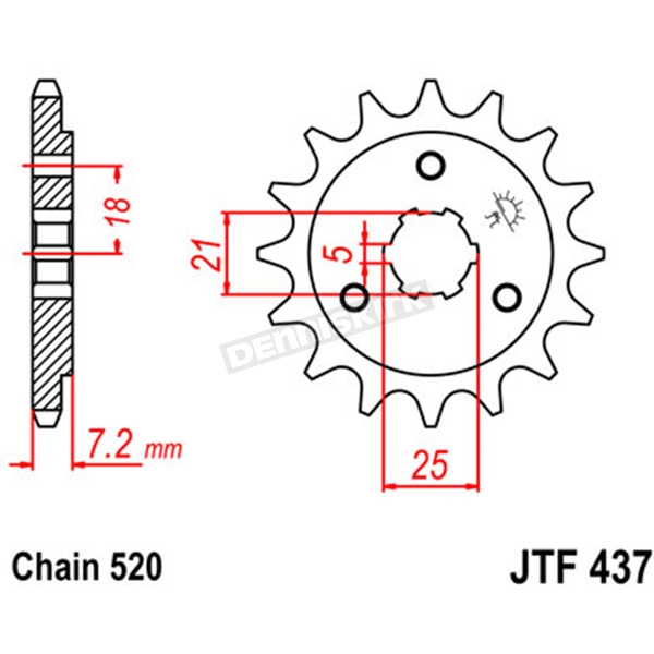 JT Sprockets Front Chromoly Steel Alloy 520 14 Tooth Sprocket - JTF437.14