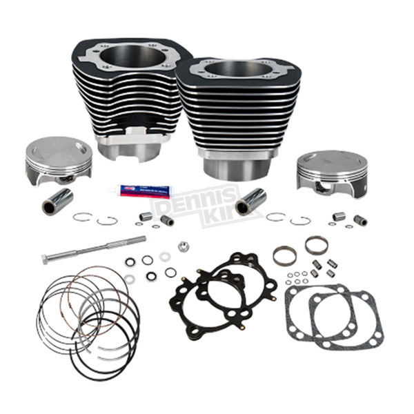 S&S Cycle Wrinkle Black Powder Coat 124 in. Big Bore Cylinder and Piston Kit - 910-0338
