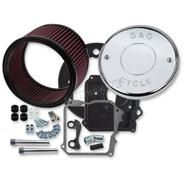 S&S Cycle Billet Aluminum Air Cleaner Kit w/Chrome S&S Logo Cover - 170-0295A