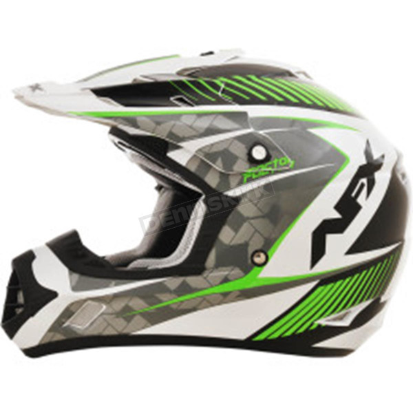 AFX Pearl White/Green FX17 Factor Helmet - 0110-4518