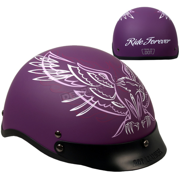 Hot Leathers Woman's Matte Purple Upwing Half Helmet - HLD1027M