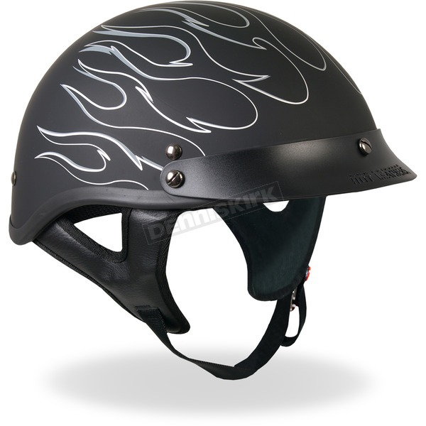 Hot Leathers Black Reflective Flames Helmet - HLD10202XL