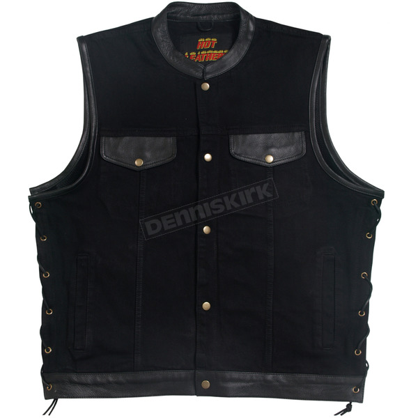 Hot Leathers Denim/Leather Vest - VSM6101XXL