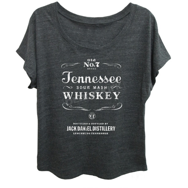 Jack Daniels Womens Onyx Gray Dolman T-Shirt - 15361492JD-79-XL