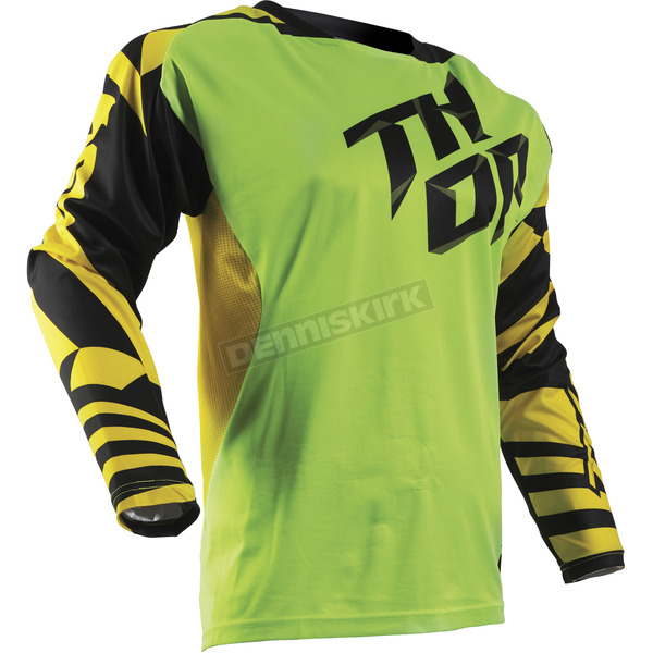 Thor Youth Flo Green/Yellow Fuse Dazz Jersey - 2912-1394