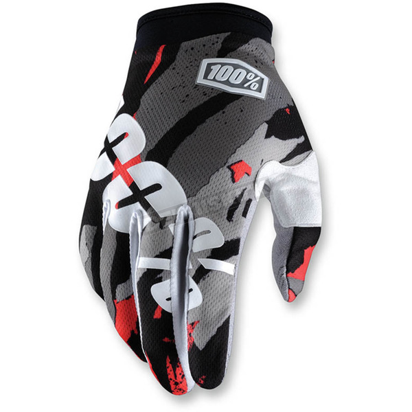 100% Gray/White/Red I-Track Magemo Gloves - 10002-185-13