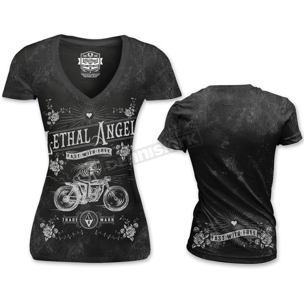 Lethal Threat Womens Skeleton Biker T-Shirt - LT20370S