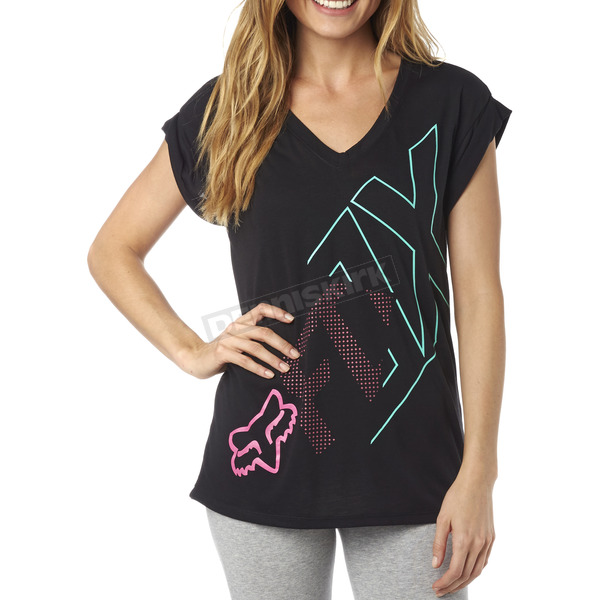 Fox Women's Black Attent V-Neck T-Shirt - 18086-001-M